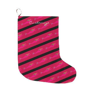 pink mermaids on black striped/red large christmas stocking