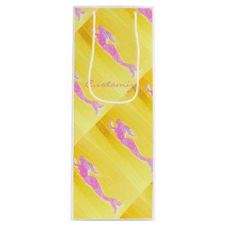 pink mermaids rising yellow wine gift bag