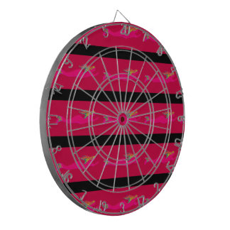pink mermaids swimming red dartboard