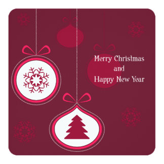 Pink Merry Christmas and Happy New Year 13 Cm X 13 Cm Square Invitation Card