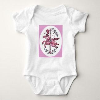 Pink merry-go-round horsie baby bodysuit