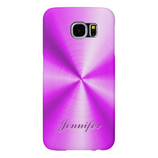 Pink Metallic Design Faux Stainless Steel Look Samsung Galaxy S6 Cases