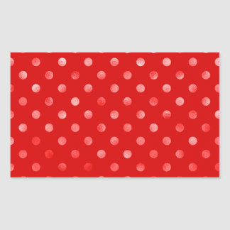 "Pink Metallic Foil ""Polka Dot"" Red Background Rectangular Stickers"