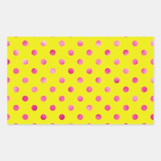 "Pink Metallic Foil ""Polka Dots"" Yellow Background Rectangular Sticker"