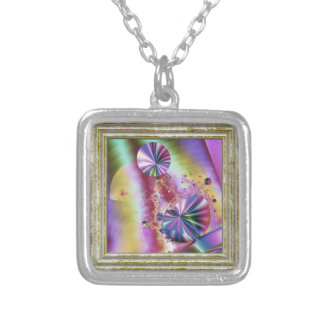 Pink Metallic Fractal Magic Silver Plated Necklace