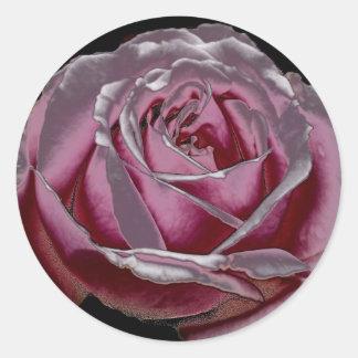 Pink Metallic Rose Classic Round Sticker