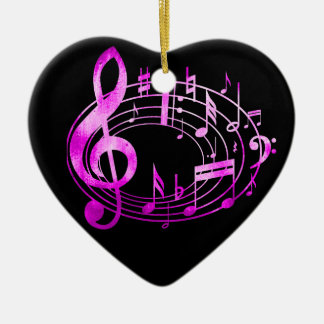 Pink Metallic style musical notes in oval shape Ceramic Heart Decoration