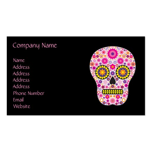 Pink Mexican Sugar Skull Business Card Templates