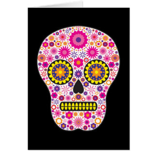 Pink Mexican Sugar Skull Greeting Cards