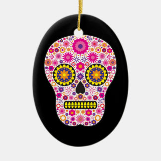 Pink Mexican Sugar Skull Christmas Ornament