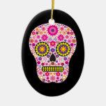 Pink Mexican Sugar Skull Christmas Tree Ornaments