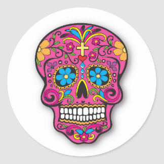 Pink Mexican Sugar Skull Day of the Dead Classic Round Sticker