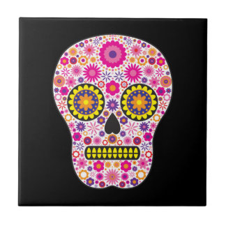 Pink Mexican Sugar Skull Tile
