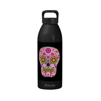 Pink Mexican Sugar Skull Drinking Bottles