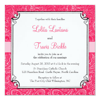 Pink Mini Paisley Wedding Invitation