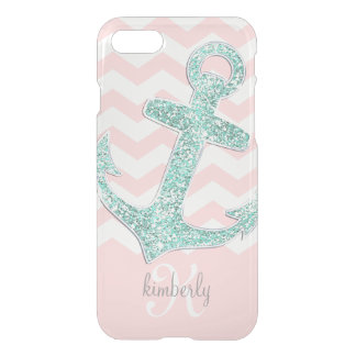 Pink Mint Faux Glitter Anchor Chevron Personalized iPhone 8/7 Case