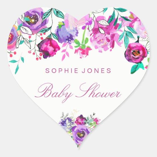 Pink Mint Flower Baby Shower Love Heart Sticker