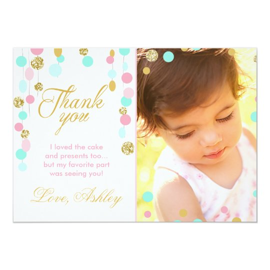 Pink Mint Gold Glitter Birthday Thank You Card