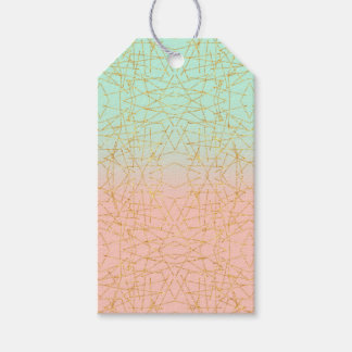 Pink Mint Green Ombre Gold Glitter Geometric Gift Tags