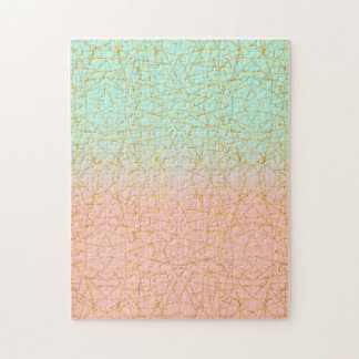 Pink Mint Green Ombre Gold Glitter Geometric Jigsaw Puzzle