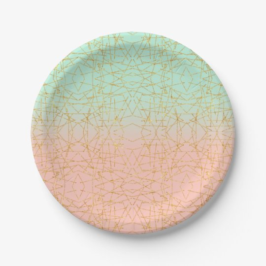 Pink Mint Green Ombre Gold Glitter Geometric Paper