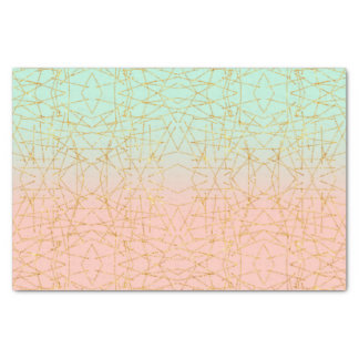 Pink Mint Green Ombre Gold Glitter Geometric Tissue Paper