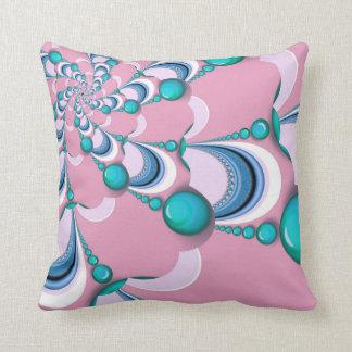 Pink + Mint Groovy Swirl Fractal Cushion