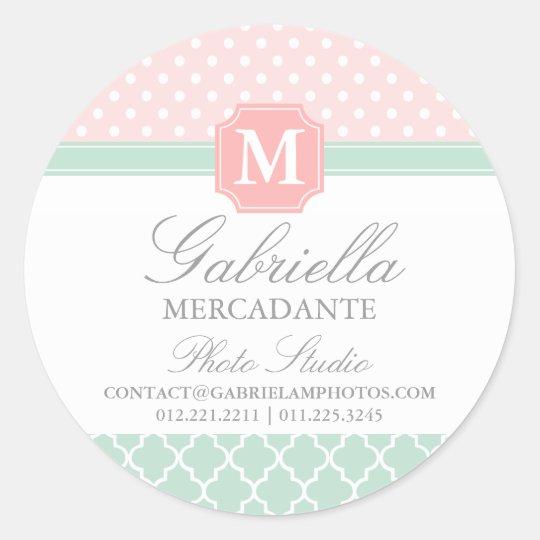 Pink Mint Polka Dots Moroccan Business Custom Classic