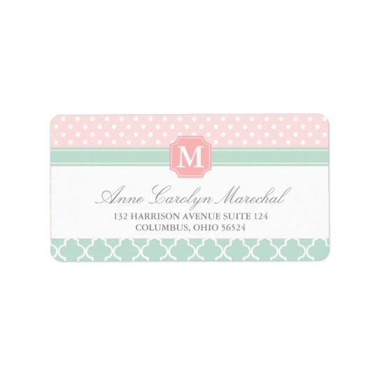Pink Mint   Polka Dots Moroccan   Monogrammed Address Label