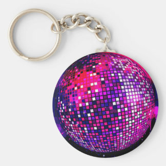 Pink Mirror Ball Basic Round Button Key Ring