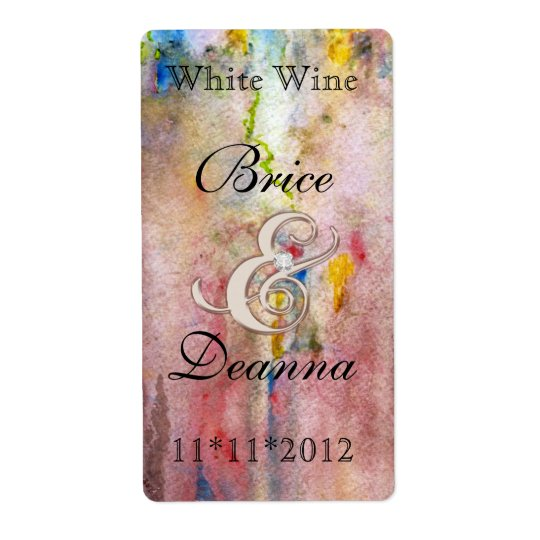 Pink Mist Champange Wedding Wine Label Shipping Label