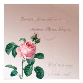 Pink Mist Rose Wedding 13 Cm X 13 Cm Square Invitation Card