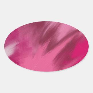 Pink misty smoke. oval sticker