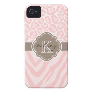 Pink & Mocha Chic Animal Print Custom Monogram Case-Mate iPhone 4 Case