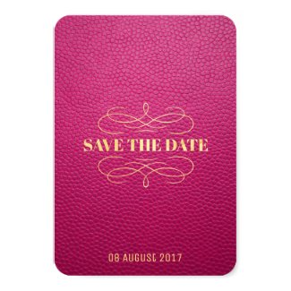 Pink Mock Leather Instagram Style Save The Date