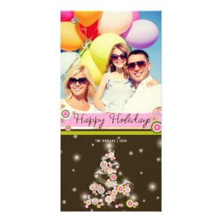 Pink Mod Circles Christmas Tree Holiday Photo Card