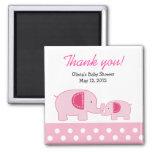 Pink Mod Elephants Trendy Jungle Favour Magnet