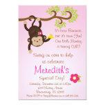 Pink Mod Monkey Girls Birthday Party Invite 13 Cm X 18 Cm Invitation Card