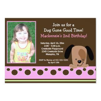 Pink Mod Puppy *PHOTO* Birthday 5x7 13 Cm X 18 Cm Invitation Card