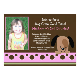 Pink Mod Puppy PHOTO Birthday 5x7 Personalized Announcement