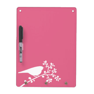 Pink Mod Single Bird and Berries Dry Erase Board