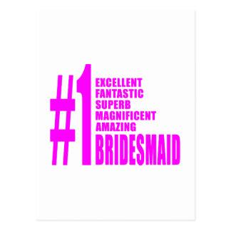 Pink Modern Bridesmaids Number One Bridesmaid Postcard