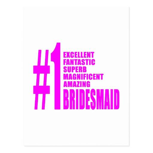 Pink Modern Bridesmaids : Number One Bridesmaid Postcard