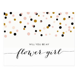 Pink Modern Confetti Will You Be My Flower Girl Postcard