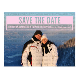 Pink Modern Cut Out Save the Date Postcard