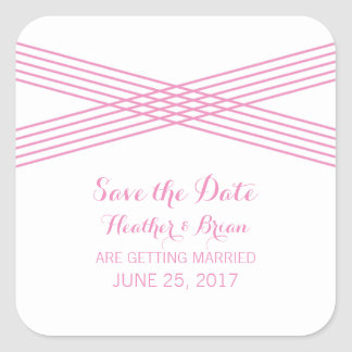 Pink Modern Deco Save the Date Stickers Square Sticker
