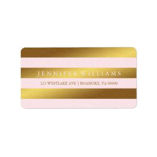 Pink Modern Faux Gold Foil Stripes Label
