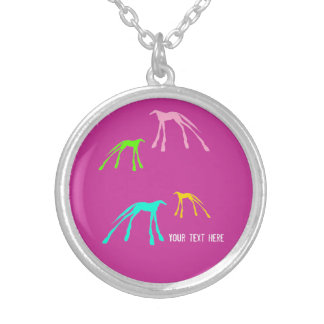 Pink Modern Horse Design Silver Plated Necklace