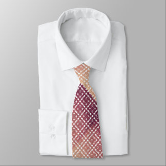 Pink Modern Metallic Plaid Netted Ombre Tie