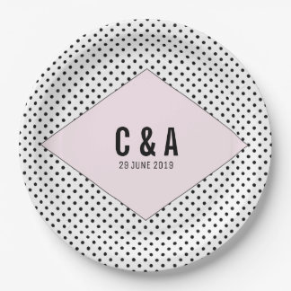 Pink Modern Polka Dots Wedding 9 Inch Paper Plate